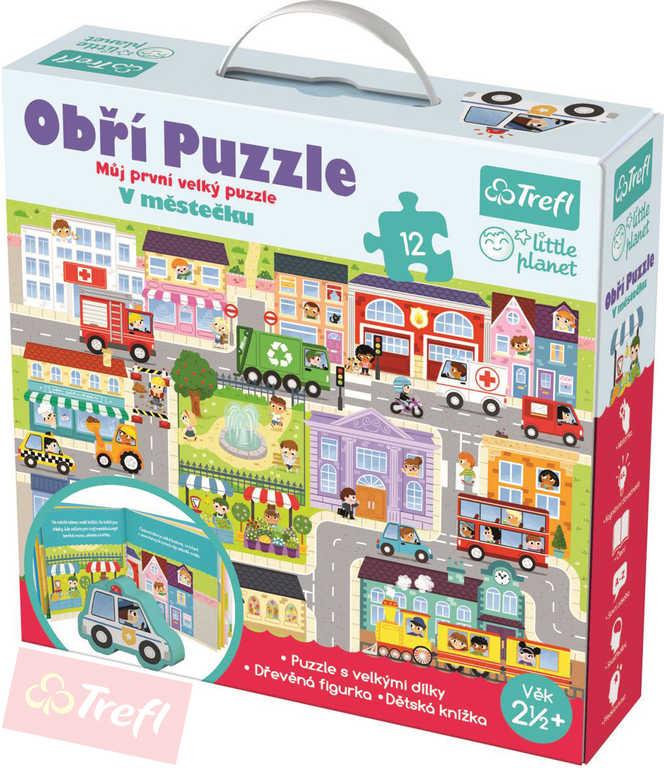 TREFL Puzzle obří V městečku 12 dílků set hrací podložka 60x40cm s doplňky