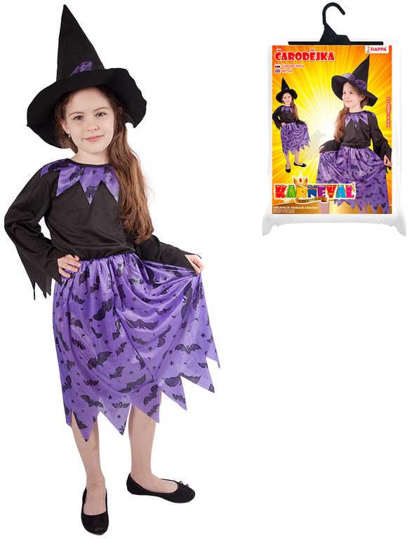 KARNEVAL Šaty čarodějka s kloboukem vel. M (116-128 cm) 6-8 let *KOSTÝM*