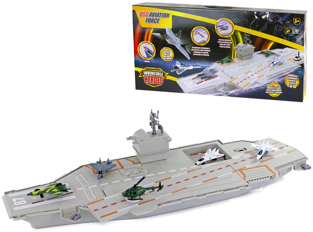 Loď letadlová 76cm herní set s letadly na baterie Světlo Zvuk plast
