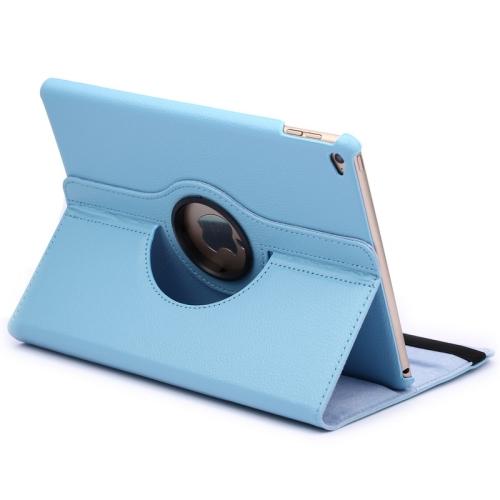 Kožený kryt / pouzdro Smart Cover Rotation Litchi pro iPad Air 2 světle modrý