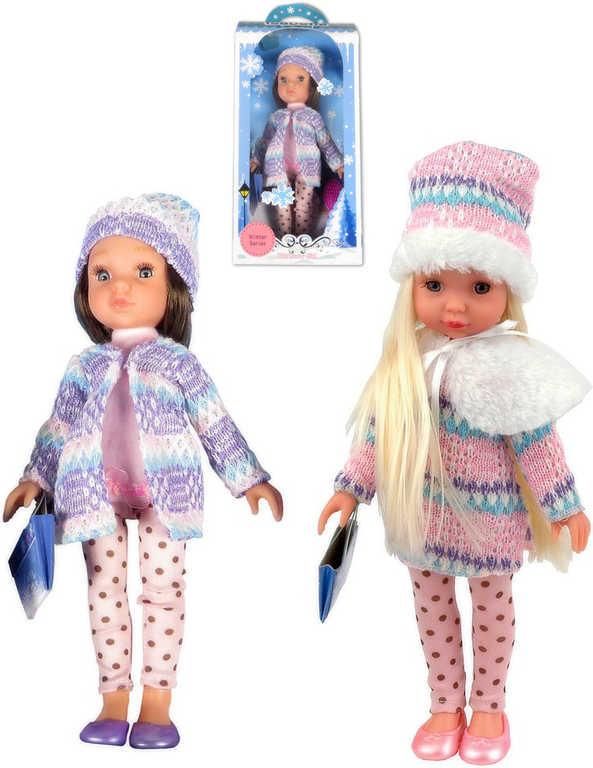 Panenka v čepici 25cm zimní obleček set s doplňky - 2 druhy