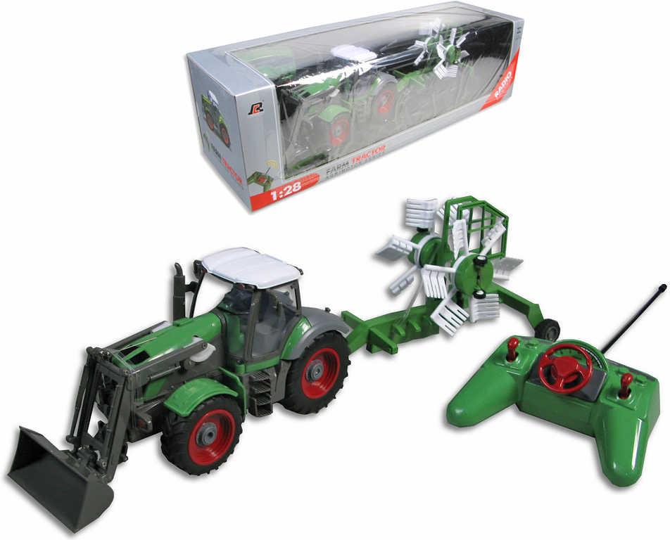 RC Traktor 25cm plastový s přívěsem na dálkové ovládání (na vysílačku) v krabici