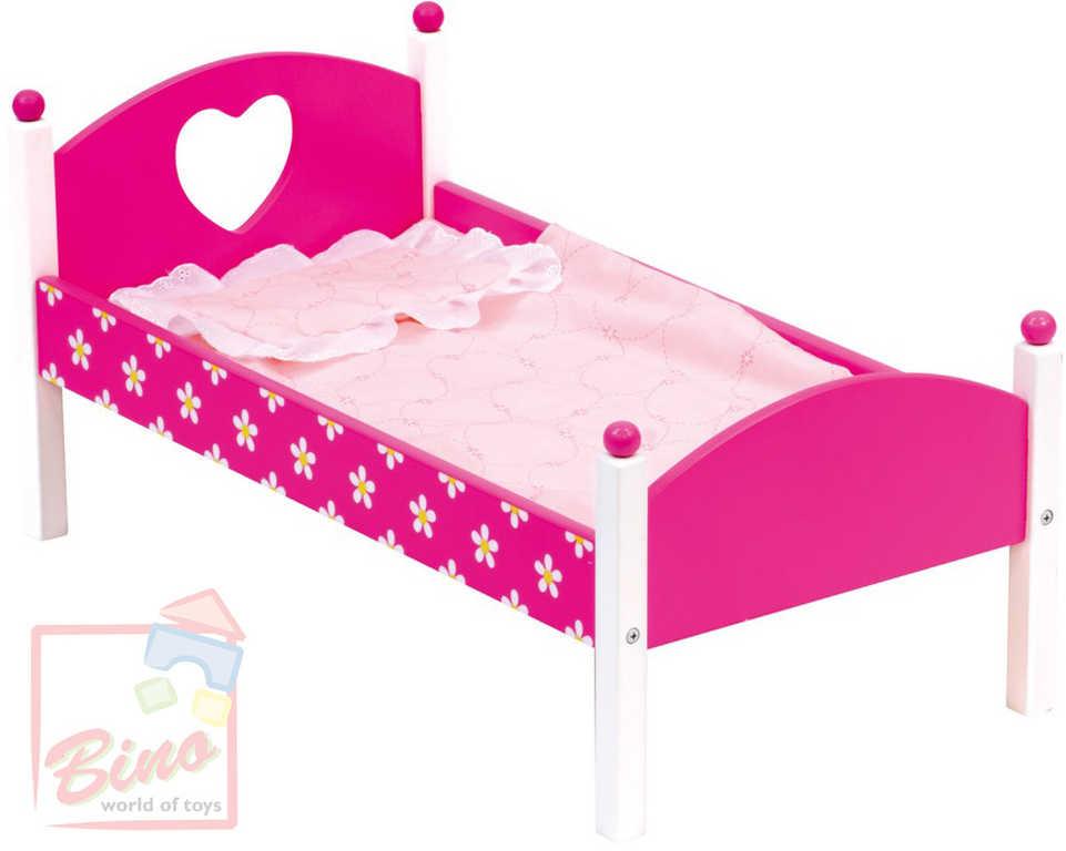 BINO DŘEVO Postýlka s peřinkami pro panenku miminko růžová