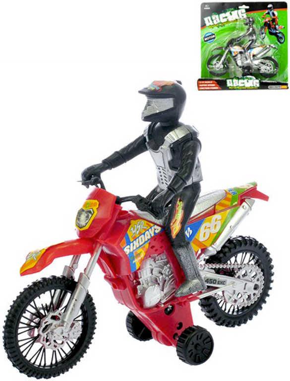 Motorka závodní 18 cm s jezdcem na setrvačník - 2 barvy