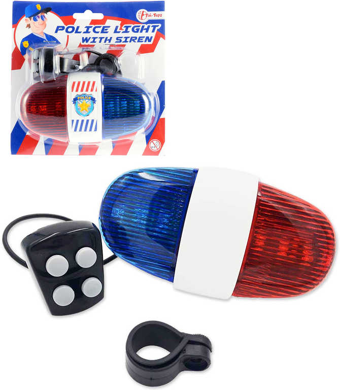 Světlo policejní barevné 13cm na kolo na baterie 3 režimy Zvuk