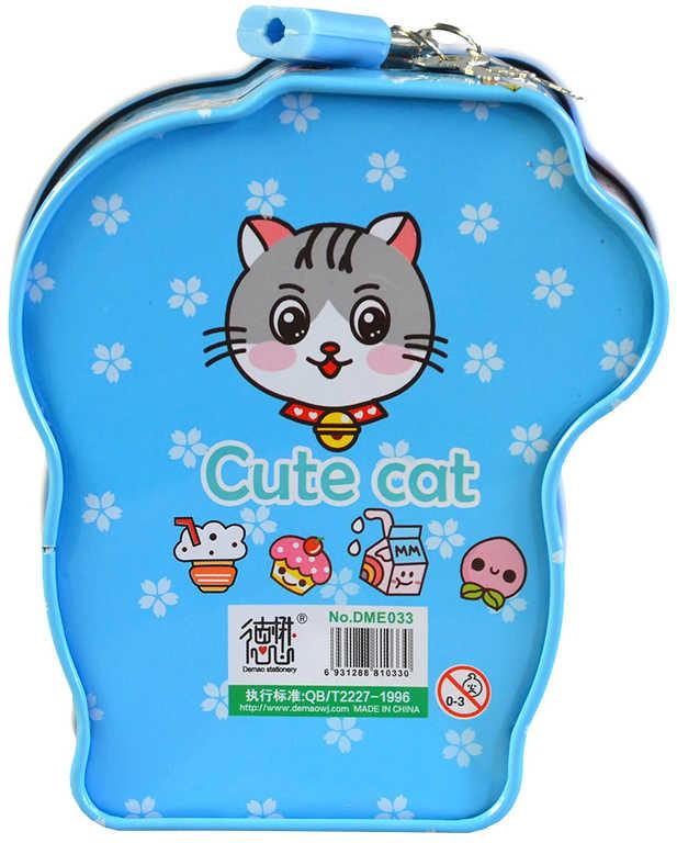 Pokladnička dětská kočička 13x11x6cm set se zámkem a 2 klíčky různé barvy kov