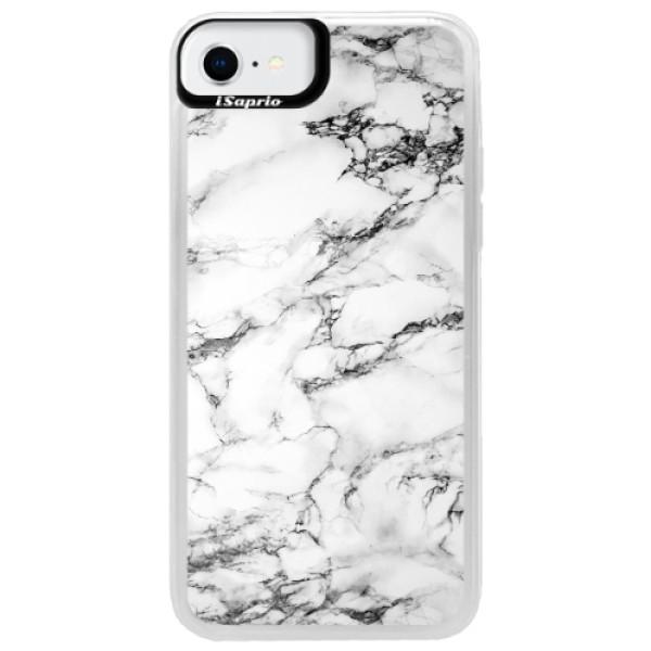 Neonové pouzdro Pink iSaprio - White Marble 01 - iPhone SE 2020