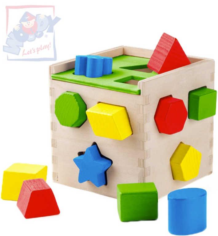 WOODY DŘEVO Krabička vkládací kostka s barevnými tvary *DŘEVĚNÉ HRAČKY*