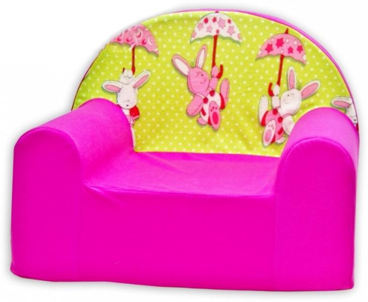 Dětské křesílko/pohovečka Nellys ® - Zajíček a deštník v růžové