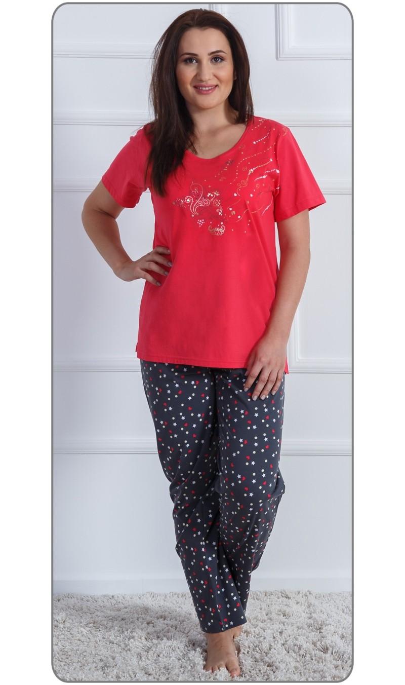 Dámské pyžamo s krátkým rukávem Leona - Jahodová 1XL