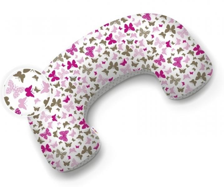 Baby Nellys Kojící polštář/podkova minky - Motýlci růžoví