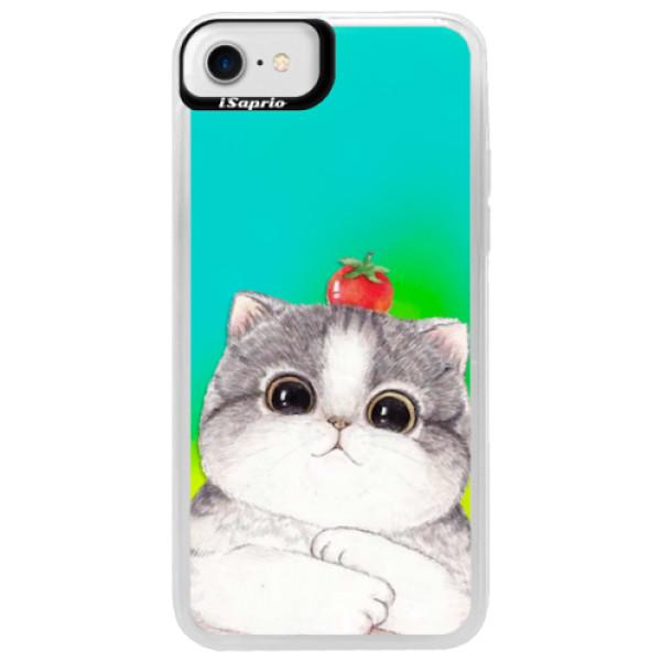 Neonové pouzdro Blue iSaprio - Cat 03 - iPhone 7