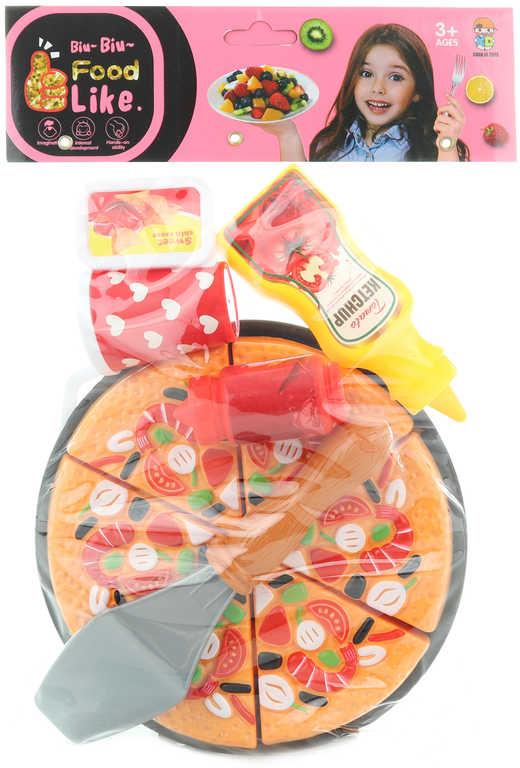 Pizza krájecí na suchý zip herní set dětské makety potravin s nástroji
