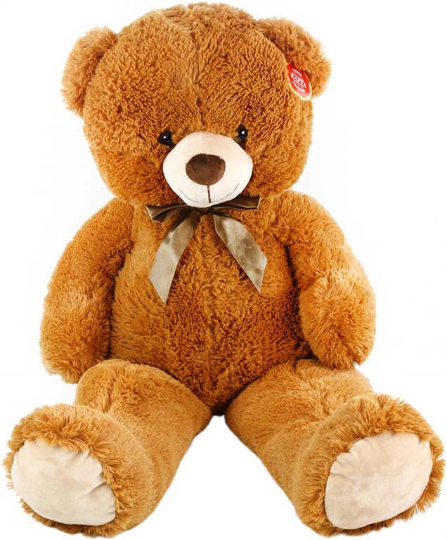 PLYŠ Medvěd hnědý velký 90 cm s mašlí