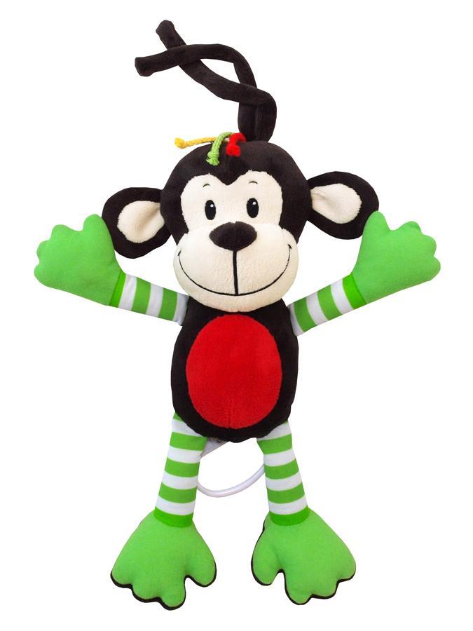 Dětská plyšová hračka s hracím strojkem Baby Mix opice zelená - hnědá
