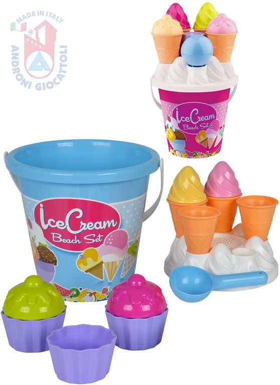 ANDRONI Výroba zmrzliny a cupcake set kyblík s formičkami na písek 14 ks 2 barvy