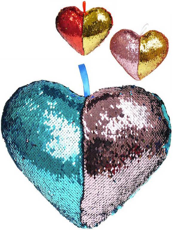 Polštářek třpytivý srdce s flitry s poutkem 3 barvvy