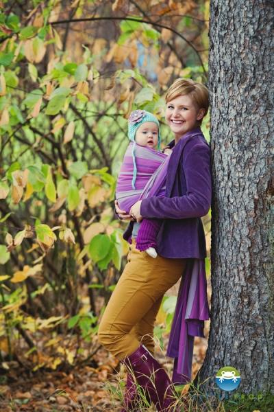 Little FROG Tkaný šátek na nošení dětí - AMETHYST - XL