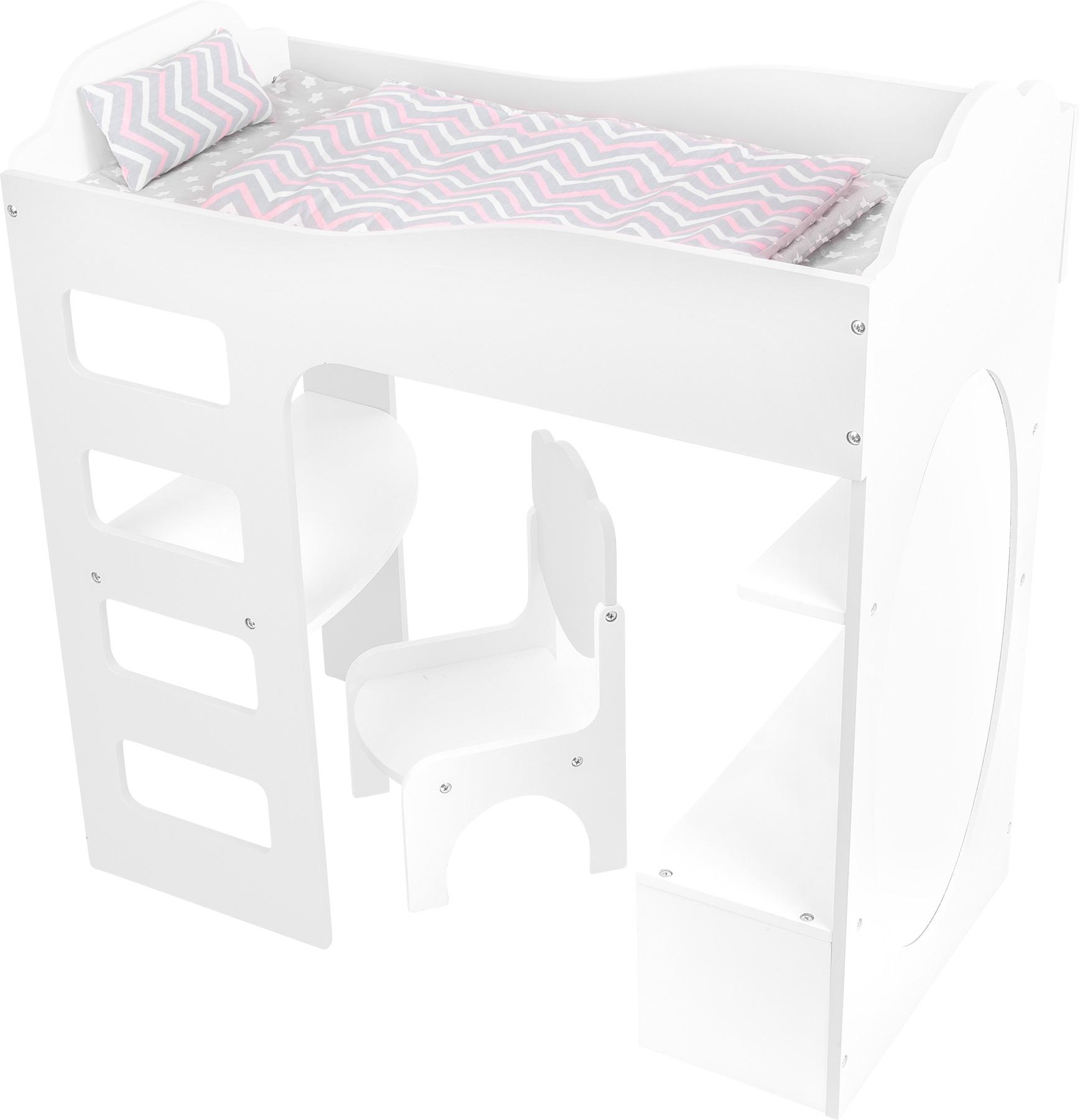 Small Foot Vysoká postýlka pro panenku se stolem bílá