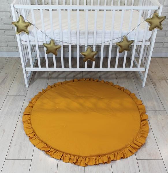 Baby Nellys Dětská hrací podložka, kobereček s volánkem - hořčicová