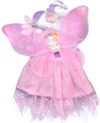 KARNEVAL Šaty růžové princezna s křídly třpytivé *KARNEVALOVÝ KOSTÝM*