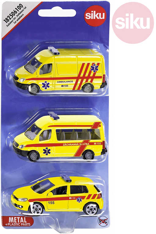 SIKU Auta žlutá Ambulance ČR set 3ks model kov blister 1825