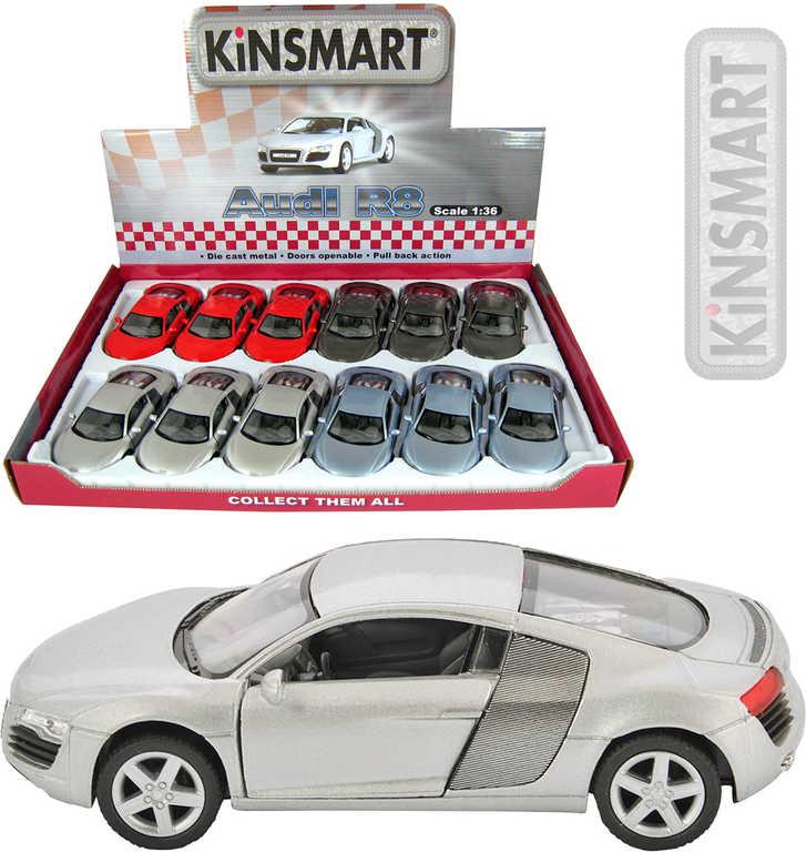 KINSMART Auto model 1:36 Audi R8 kov PB 13 cm - 4 barvy