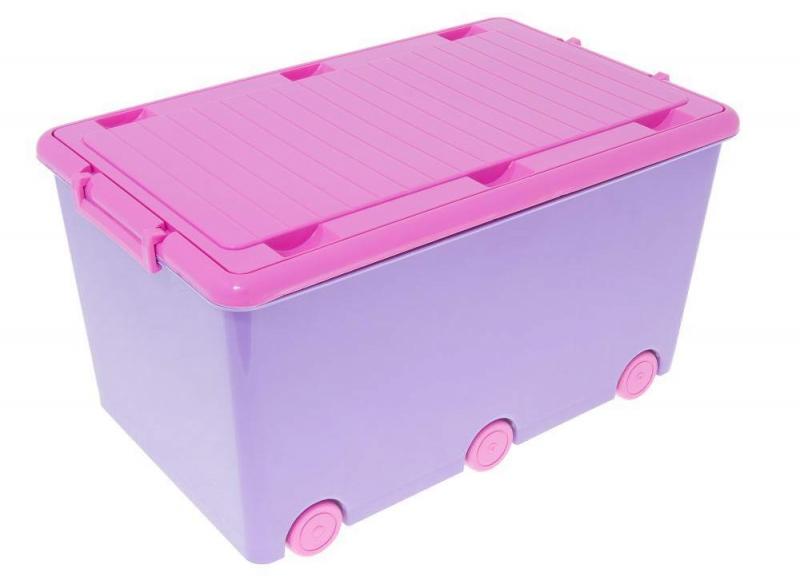Dětský úložný box na kolečkách - fialový