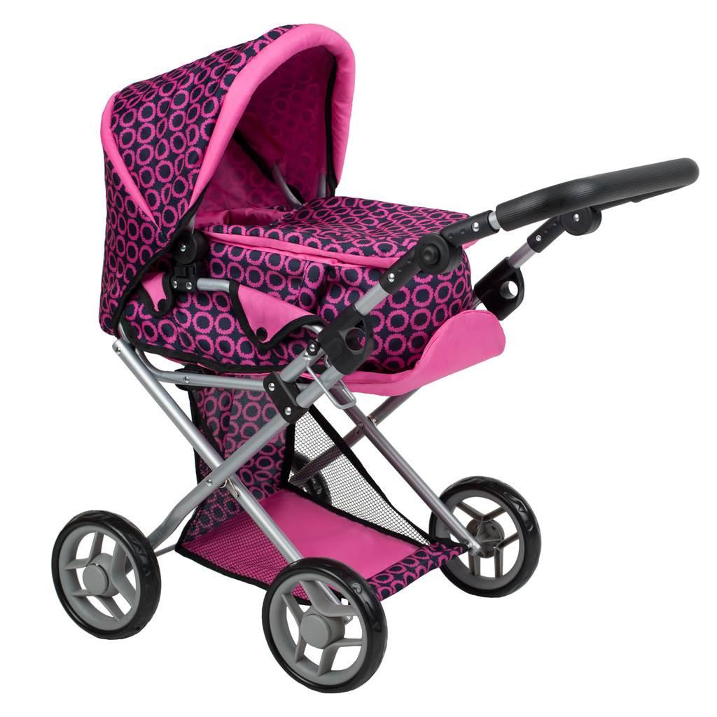 Multifunkční kočárek pro panenky PlayTo Elsa růžovo-černý - růžová