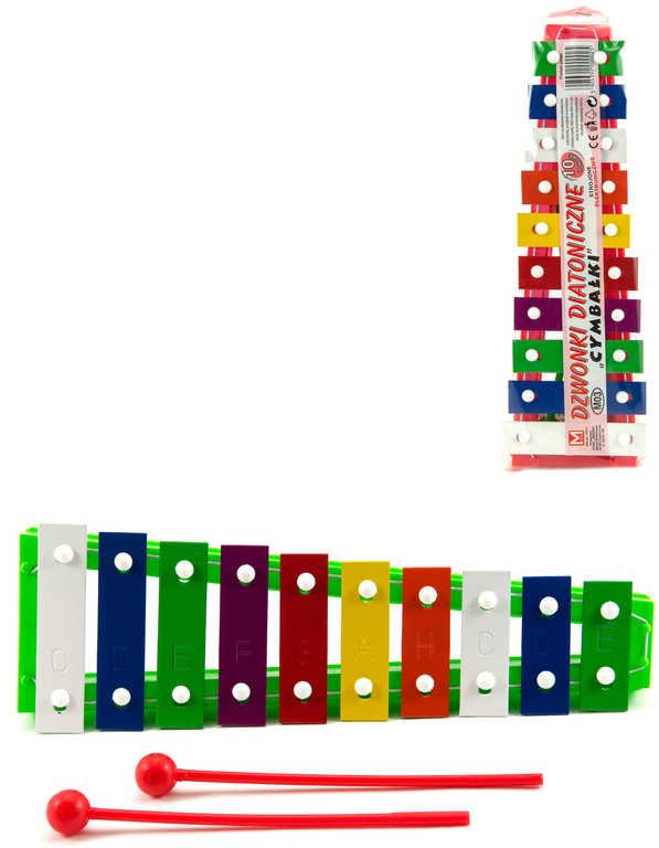 Xylofon dětský 26cm kov/plast + 2 paličky 10 kláves 4 barvy *HUDEBNÍ NÁSTROJE*