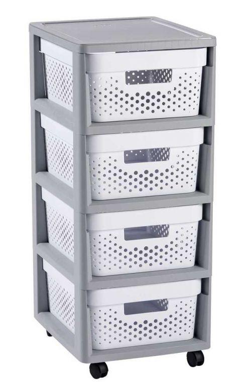 Regál se šuplíky 4x11L INFINITY DOTS - bílý