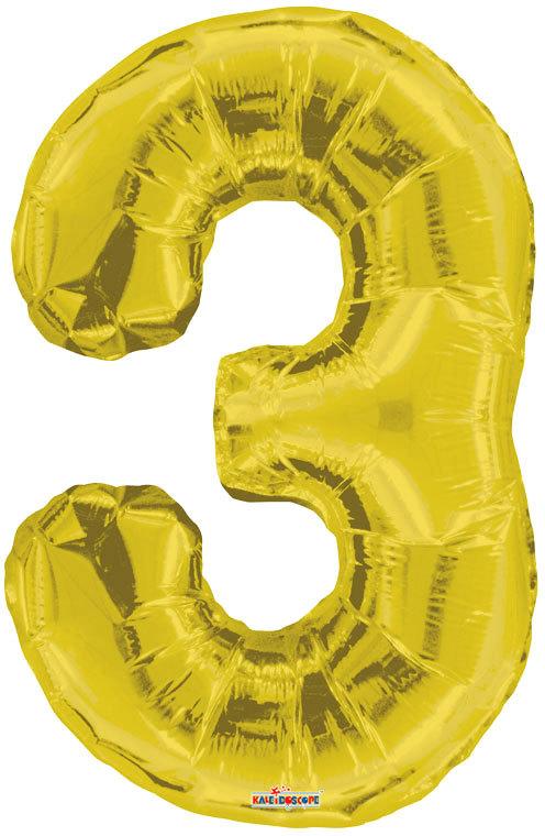 Party balonek nafukovací 86cm Číslice 3 zlatý velký foliový vzduch i helium