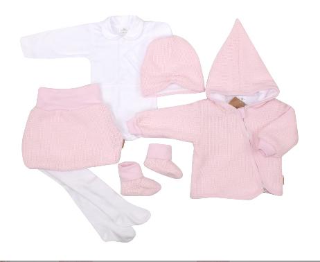 Z&Z 6-dílná sada kabátek, body, sukně, punčochy, botky, čepička - růžová