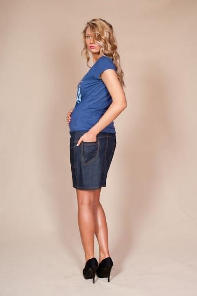 Těhotenské sukně JEANS s kapsami - granátová
