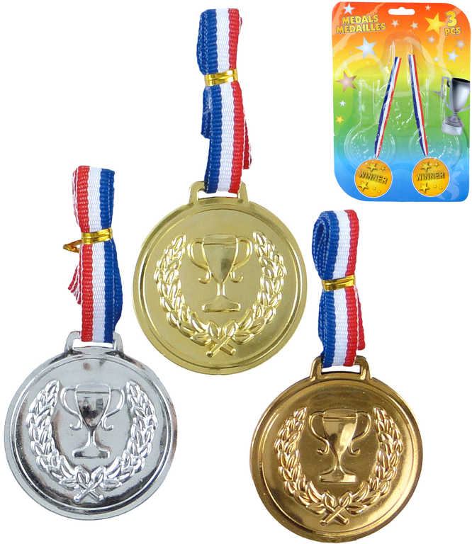 Sada 3 plastové medaile trikolora pro vítěze na kartě