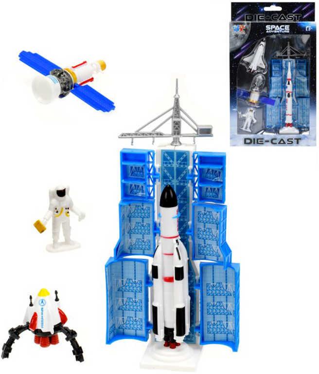 Raketa vesmírná 13cm set startovací rampa s kosmonautem a doplňky různé druhy