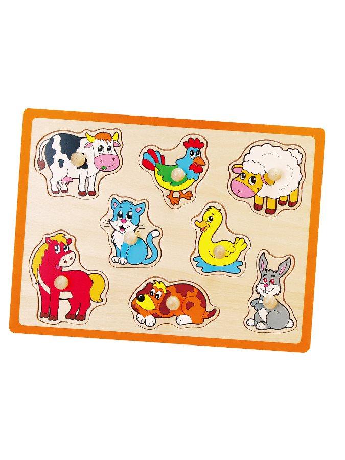 Dětské dřevěné puzzle s úchyty Viga - Farma - multicolor