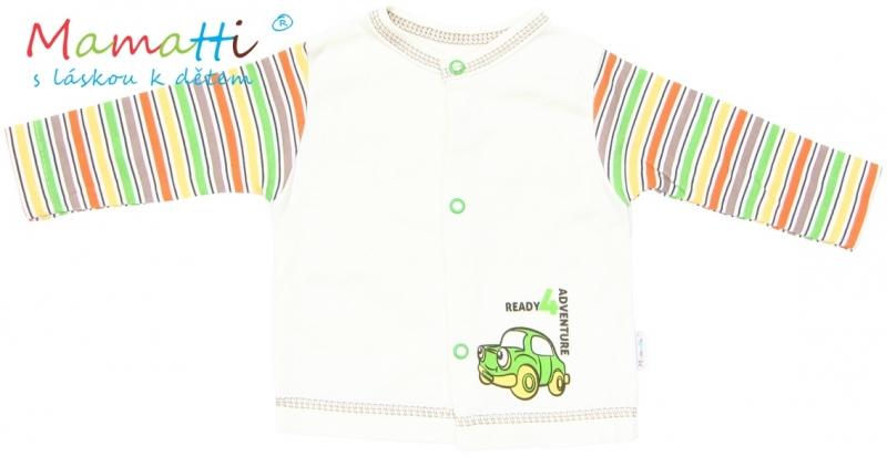 Bavlněná košilka Mamatti - CAR- krémová/barevné proužky - 74 (6-9m)