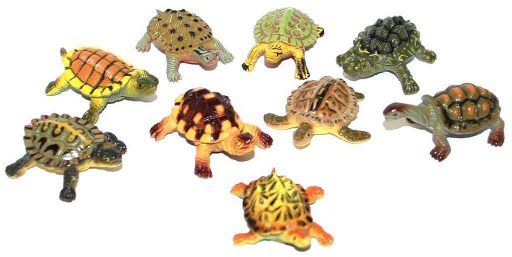 Želvy barevné 5cm set 9ks zvířátka figurky různé druhy v sáčku plast