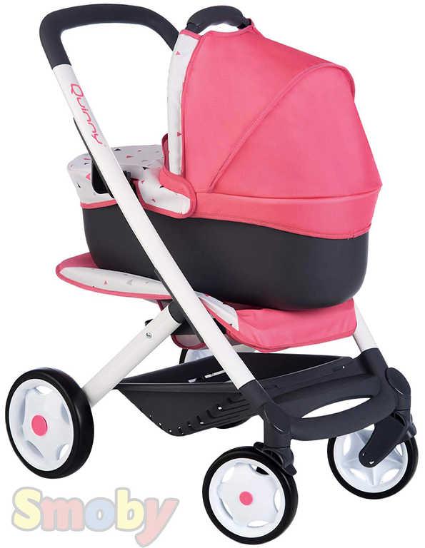 SMOBY Kočárek Maxi Cosi 3v1 trojkombinace růžovo-černý pro panenku miminko