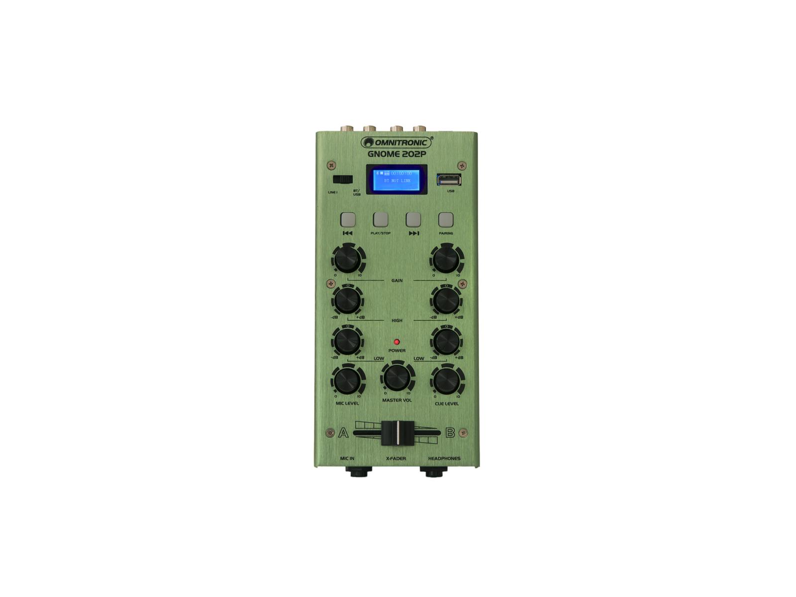 OMNITRONIC GNOME-202P, 2-kanálový, USB, MP3, Bluetooth, zelený