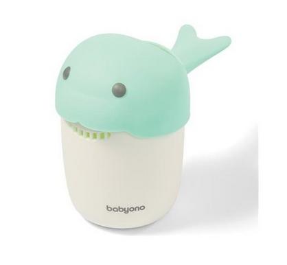 BabyOno Hrníček ke koupání, mytí hlavičky Whale - mátový