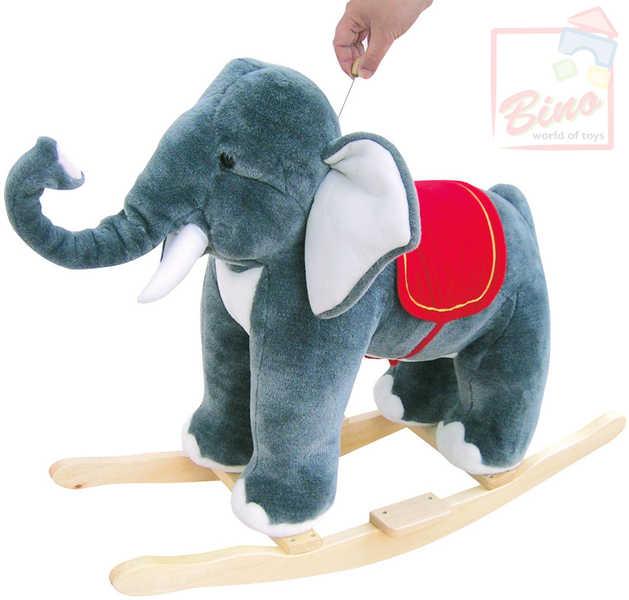 BINO Slon houpací plyš se zvuky * DŘEVĚNÉ HRAČKY *