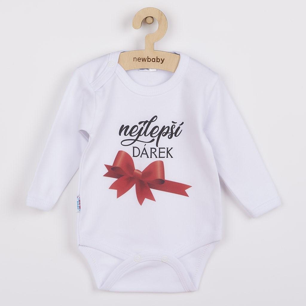 Body s potiskem New Baby nejlepší DÁREK - červená/80 (9-12m)