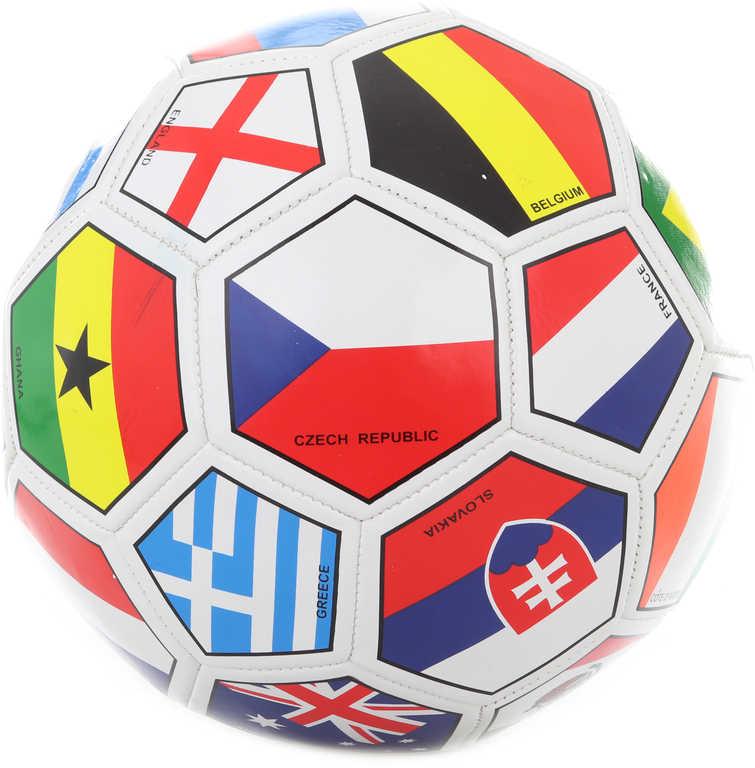 Míč fotbalový vel.5 vlajky států kopačák 20cm šitý balon na kopanou