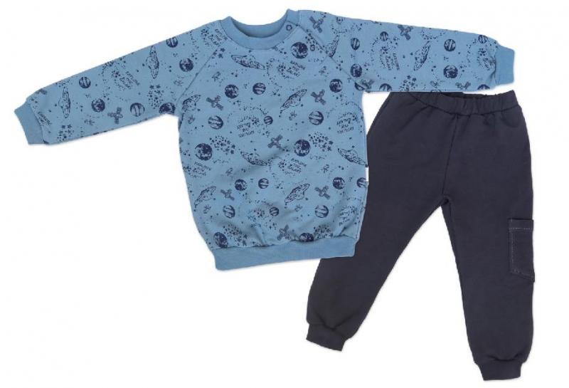 Mamatti Dětská tepláková souprava zapínání na boku Vesmír - modrá s
