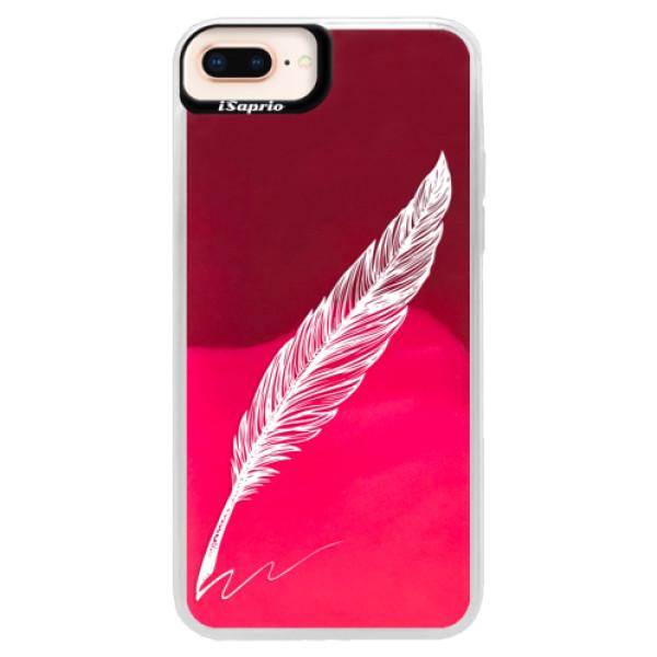 Neonové pouzdro Pink iSaprio - Writing By Feather - white - iPhone 8 Plus