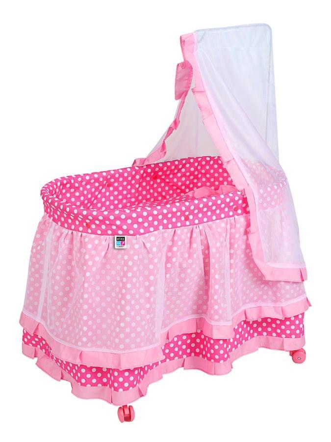 Košík pro panenky PlayTo Nikolka světle (poškozený obal) - růžová