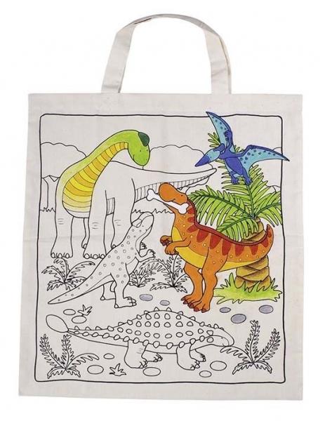 Dětská Eko bavlněná taška k vybarvení, 38x42cm - Dino