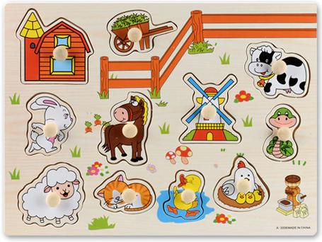 Dřevěná vkládačka - zvířata